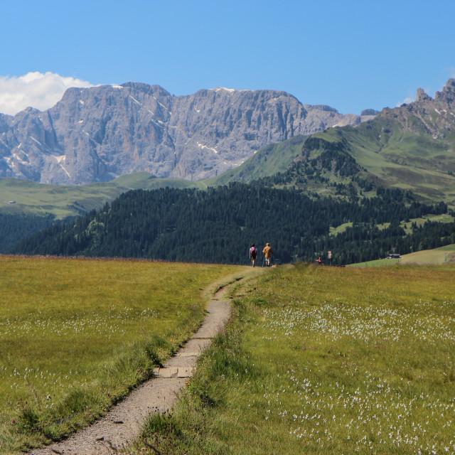 """Dolomites Hikers"" stock image"