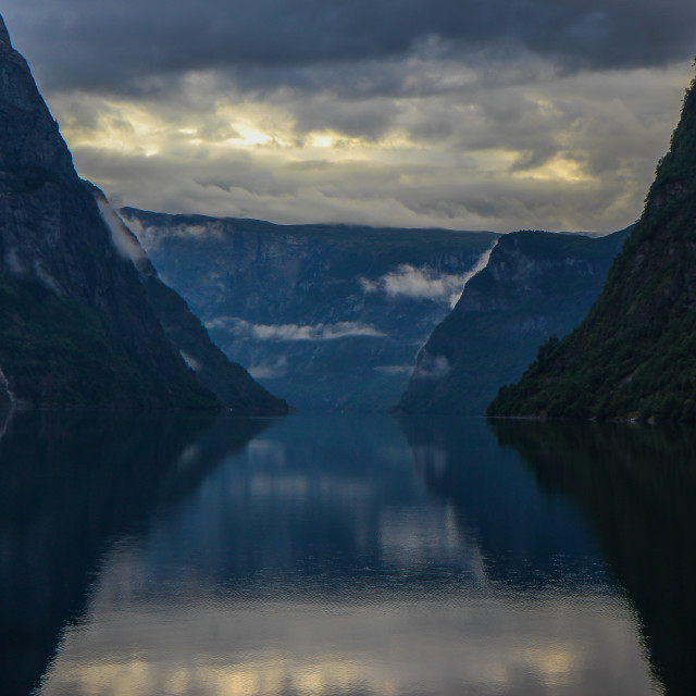 """Sunset on the Fjord"" stock image"