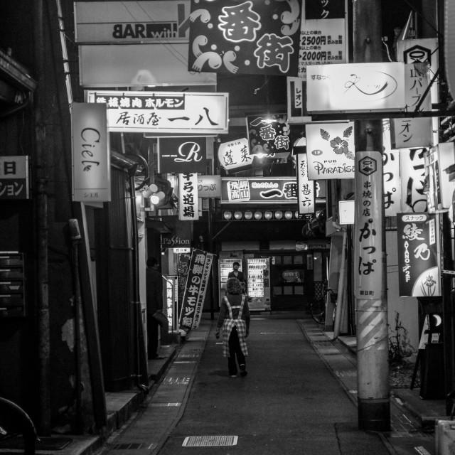 """Backstreet Lights in Japan - Woman"" stock image"