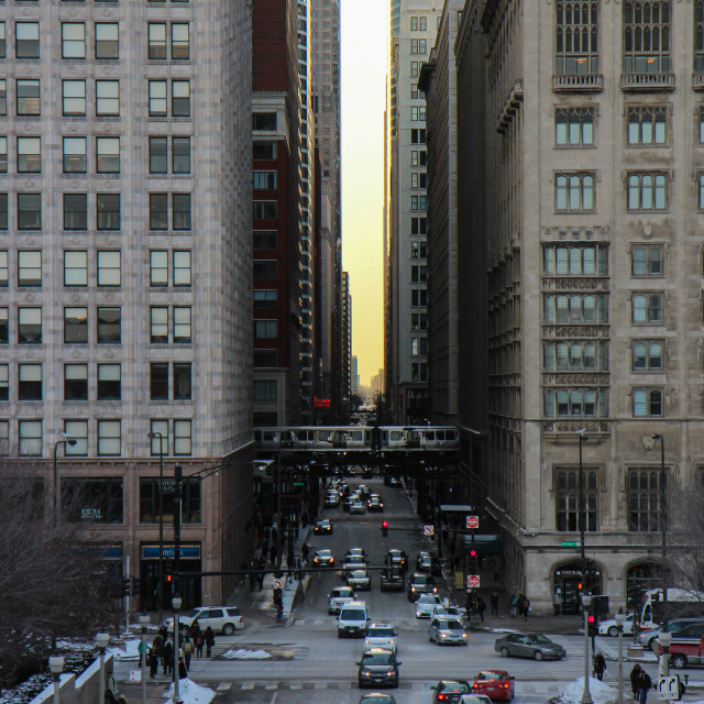 """""""Train Crossing the Sunset, Chicago"""" stock image"""