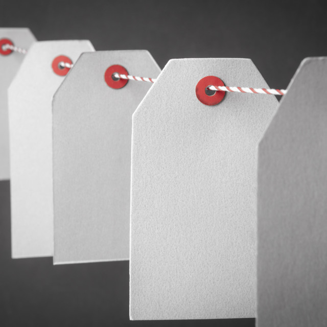 """""""Empty paper tags close up"""" stock image"""