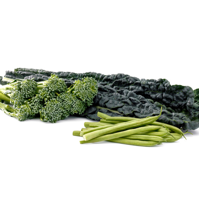 """kale, beans and sprouting broccoli"" stock image"