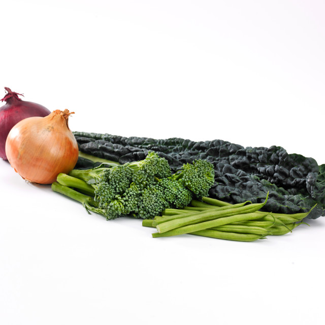 """Onions, broccoli, kale and beans"" stock image"