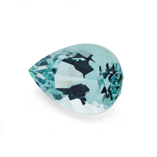 """4 carat aquamarine pear shaped cut stone"" stock image"
