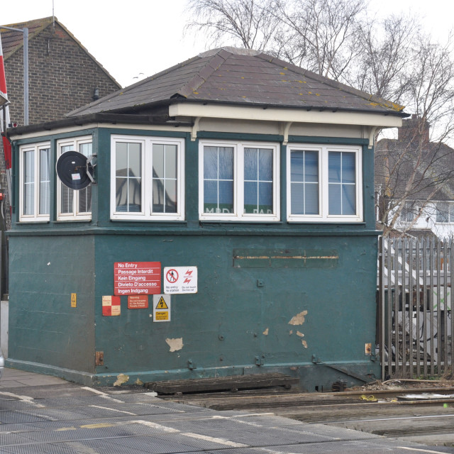"""Signal Box Demolition. Hampden Park. Eastbourne. Feb 2015."" stock image"