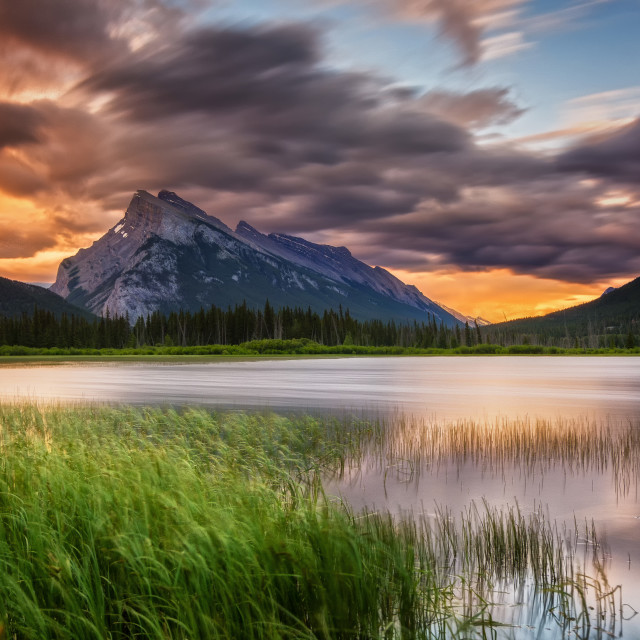 """Sunset sky over the Mount Rundle"" stock image"