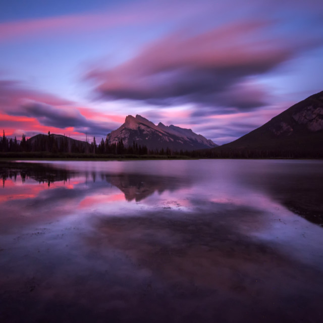 """After the sunset at Vermillion Lakes"" stock image"