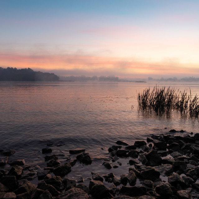 """View of the Dnieper river in Kiev, Ukraine, the morning at dawn"" stock image"