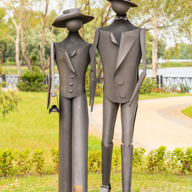 """Sculpture ""Promenade"" by O. Epinger"" stock image"