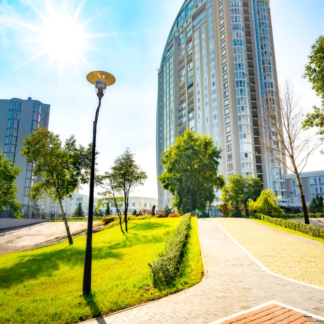 """Modern buildings in the obolon district of Kie"" stock image"