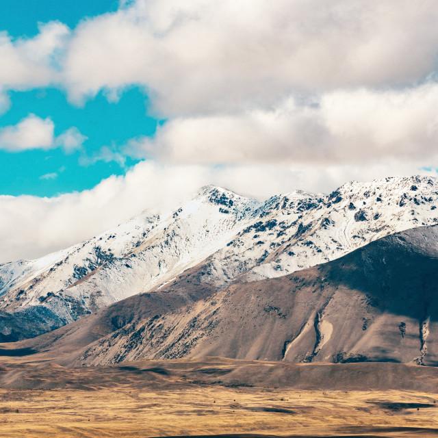 """Southern Alps and Lake Tekapo"" stock image"