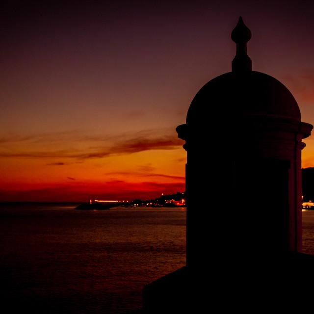 """Sunset in Sesimbra, Portugal"" stock image"