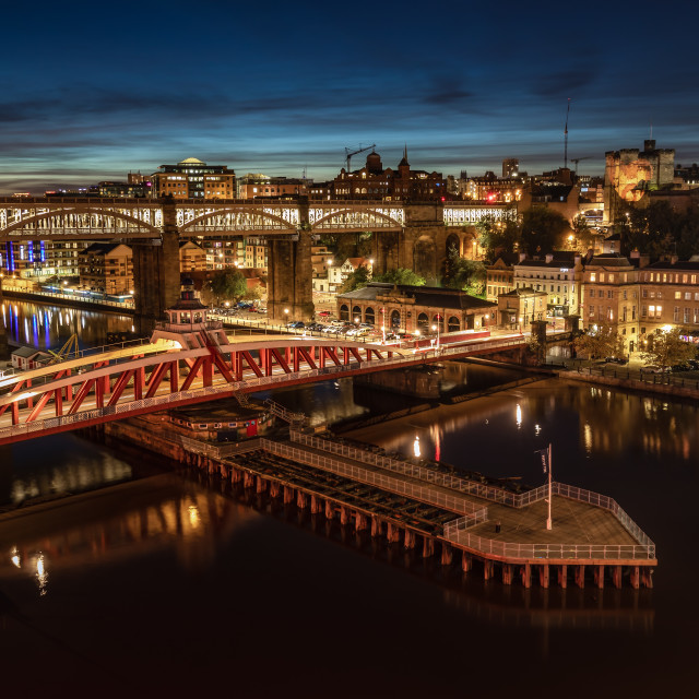"""Swing Bridge at Dusk"" stock image"
