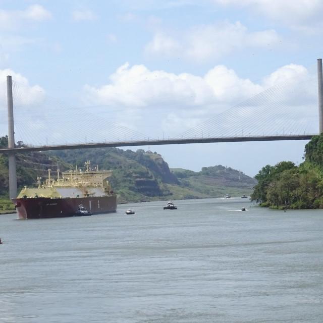 """Traversing the Panama canal"" stock image"