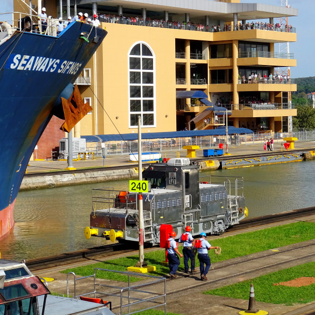 """""""Panama canal showing Miraflores visitors centre"""" stock image"""