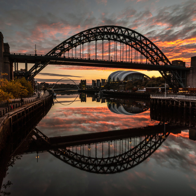 """Sunrise at the Tyne Bridge"" stock image"