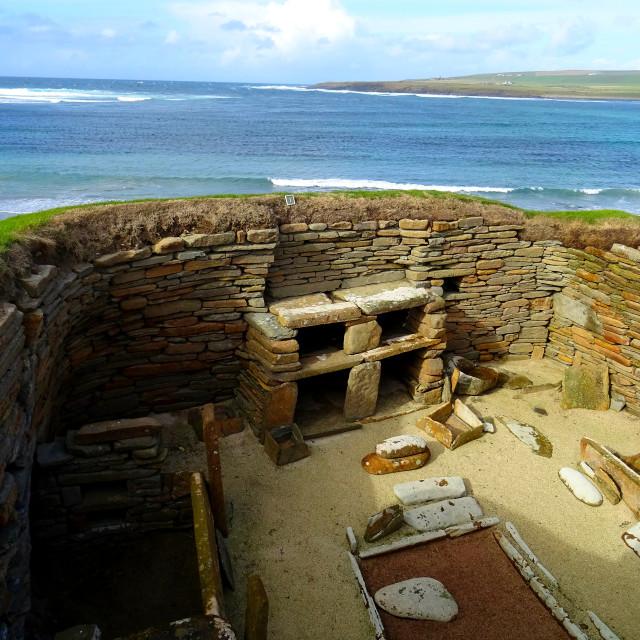 """Skara Brae Neolithic site"" stock image"