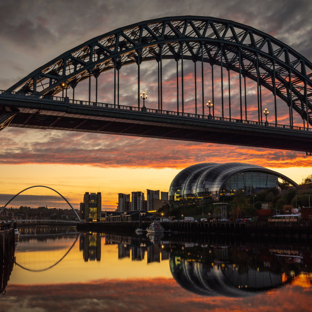 """Sunrise Over the Tyne"" stock image"