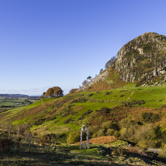 """Loudoun Hill and The Spirit of Scotland Monument"" stock image"
