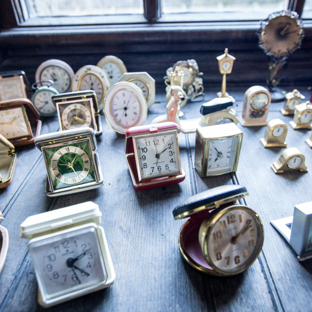 """""""A collection of clocks"""" stock image"""