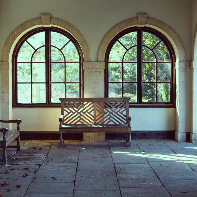 """""""Bench in front of window"""" stock image"""