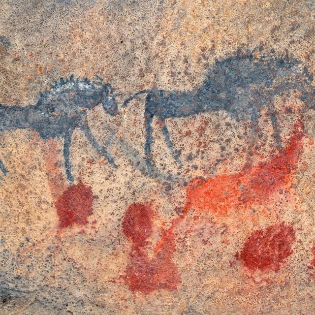 """Bushmen rock painting"" stock image"