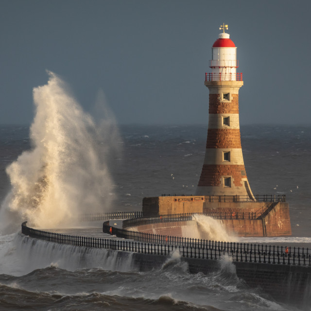 """Breaking Waves at Roker Lighthouse"" stock image"