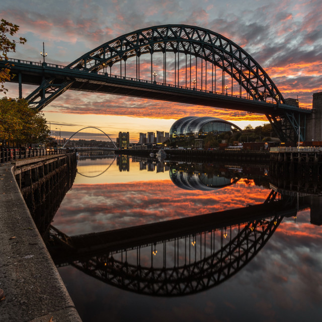 """Tyne Bridge Sunrise Reflected"" stock image"