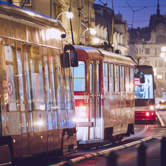 """Tram in traffic jam"" stock image"