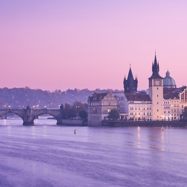 """Prague at colorful sunrise"" stock image"
