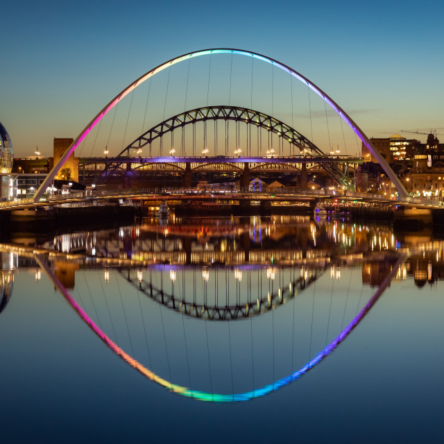 """Gateshead Millennium Bridge at Night"" stock image"
