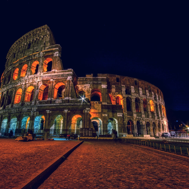"""Colosseum illuminated in Rome."" stock image"