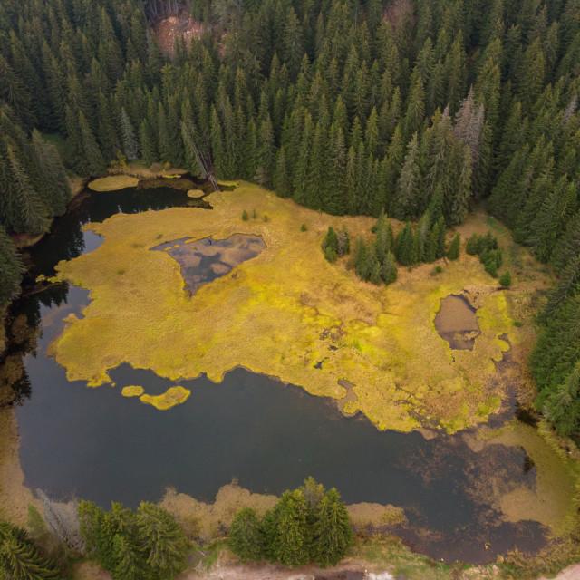 """Aerial view Smolyan lakes in Bulgaria during autumn."" stock image"