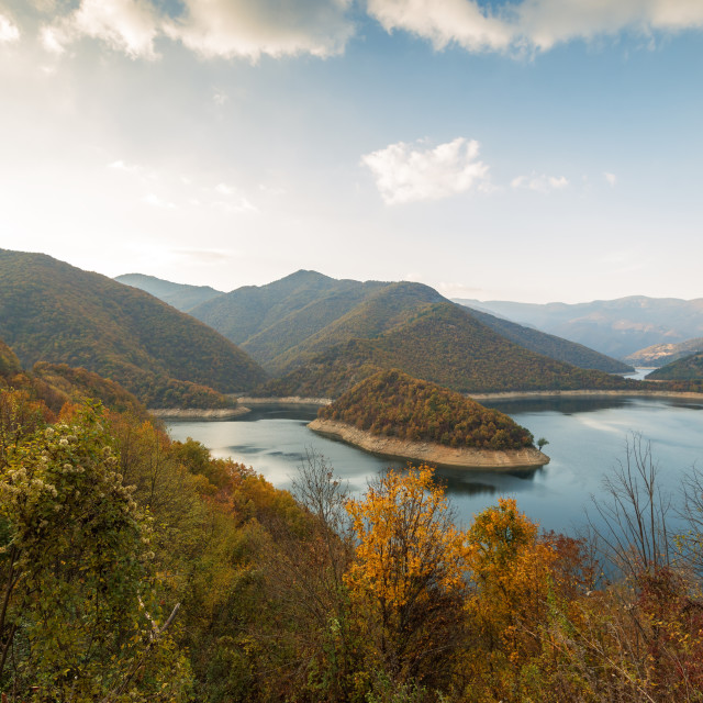 """Amazing Autumn landscape of Meander of Vacha (Antonivanovtsy) Re"" stock image"