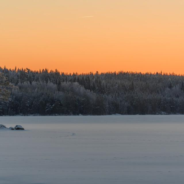 """sunrise over a little lake in varmland sweden"" stock image"