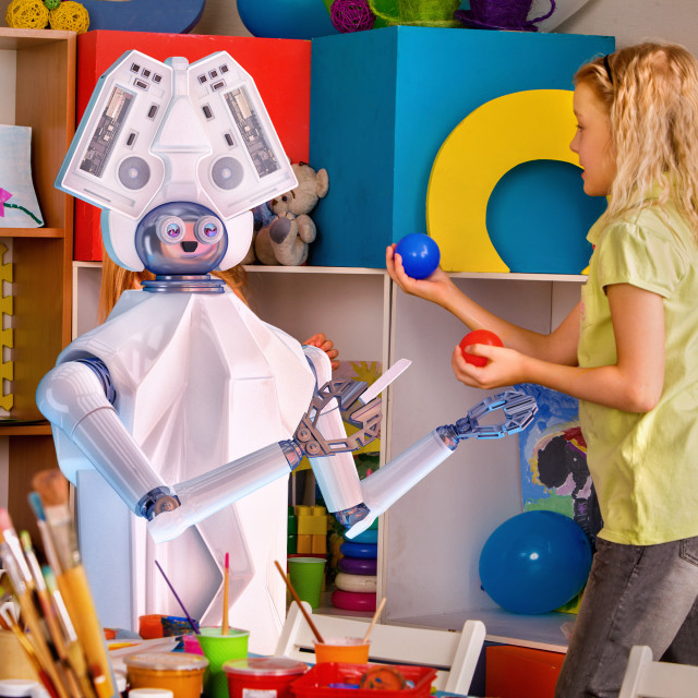 """Child training of artificial intelligence by robot."" stock image"