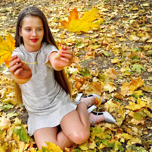 """Autumn fashion dress child girl sitting fall leaves park outdoor."" stock image"