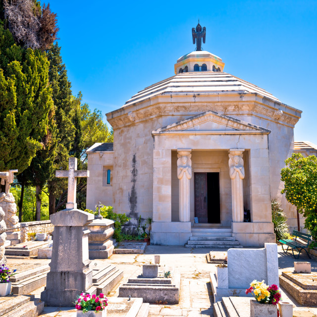 """""""Cavtat graveyard and The Racic Mausoleum view"""" stock image"""