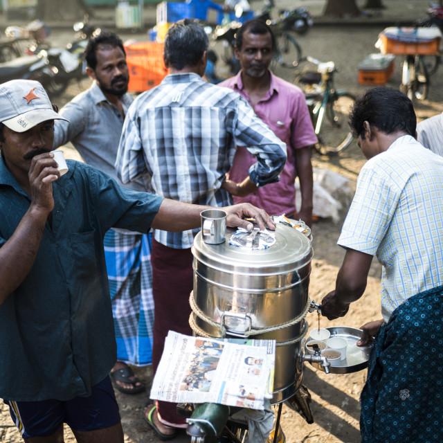 """""""Chai Wallah serving tea at Fort Kochi (Cochin), Kerala, India"""" stock image"""