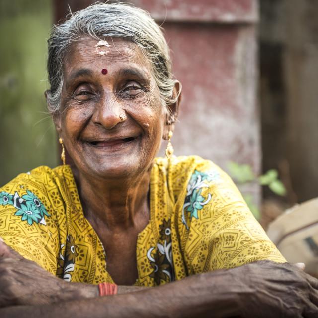 """Portrait of an Indian woman, Fort Kochi (Cochin), Kerala, India"" stock image"
