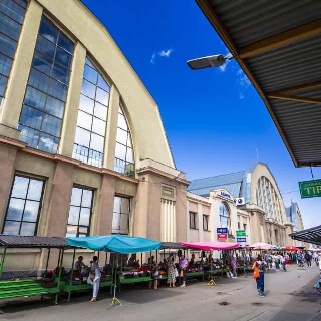 """Exterior of Riga Central Market, Riga, Latvia, Baltic States, Europe"" stock image"