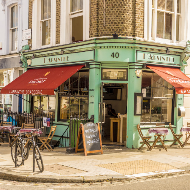 """The pretty L' Absinthe restaurant and coffee shop in Primrose Hill, London,..."" stock image"