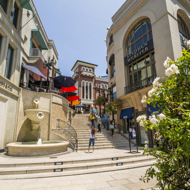 """""""View of Rodeo Drive Steps on Rodeo Drive, Beverley Hills, Los Angeles,..."""" stock image"""