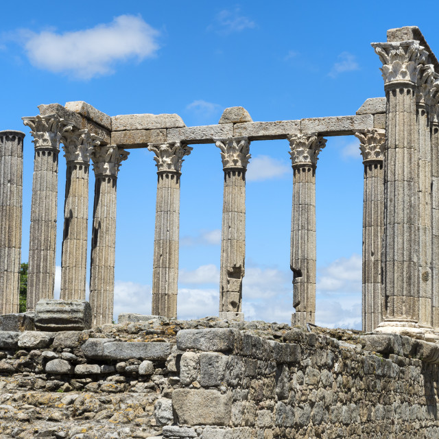 """Roman temple of Diana, UNESCO World Heritage Site, Evora, Alentejo, Portugal"" stock image"