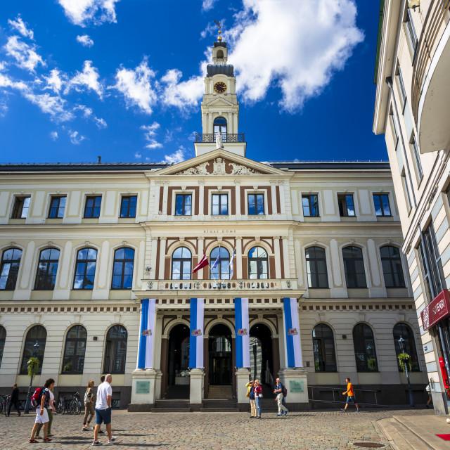 """City Hall, Old Riga, Latvia, Baltic States, Europe"" stock image"