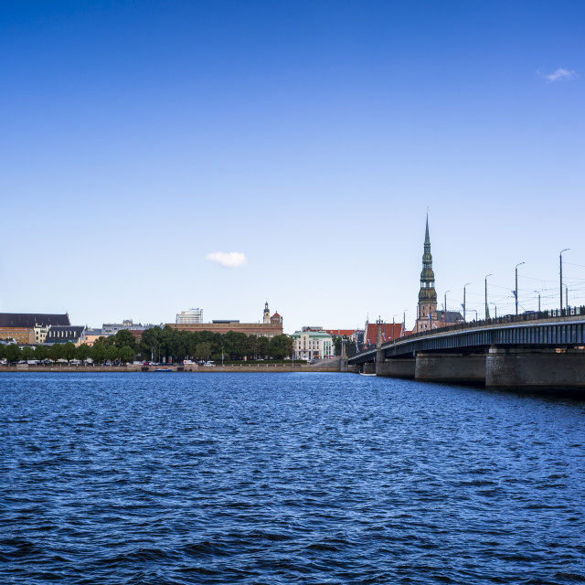 """""""Church of St. Peter and the Old Town from across the river Daugava, Riga,..."""" stock image"""