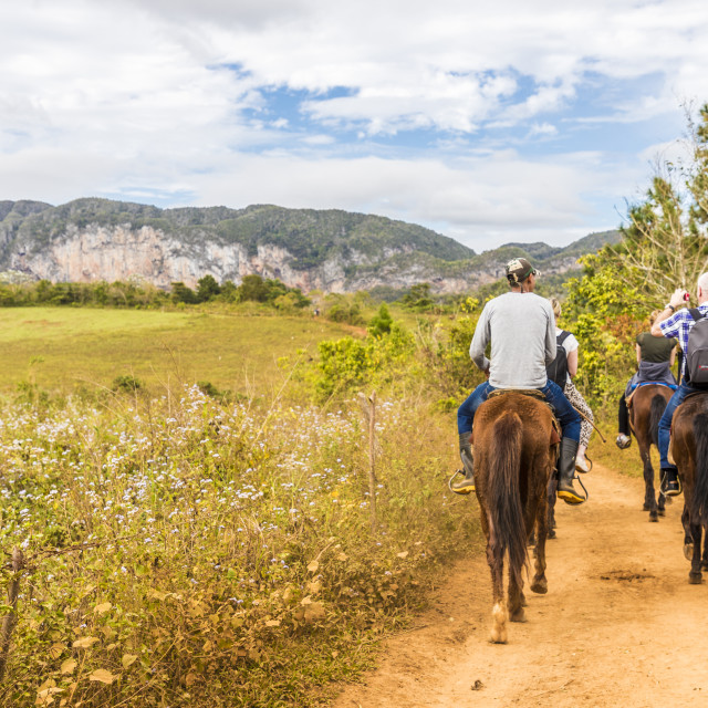 """""""Tourists on a horse tour in Vinales National Park, a UNESCO world heritage..."""" stock image"""