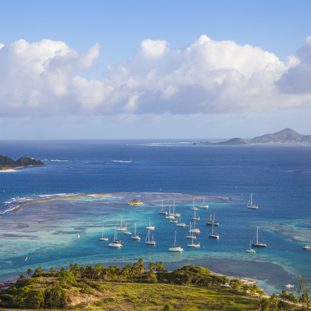"""""""St Vincent and The Grenadines, Union Island, View towards Palm Island with..."""" stock image"""