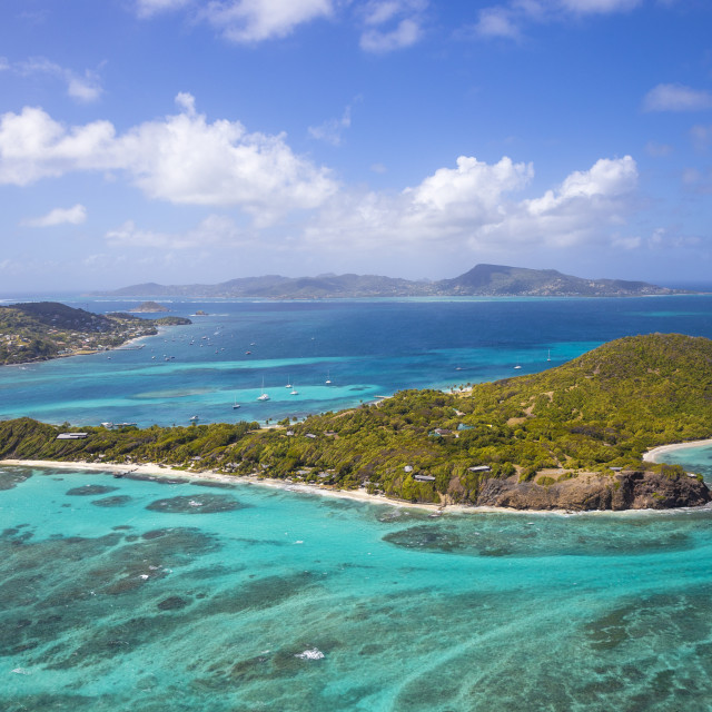 """""""St Vincent and The Grenadines, Aerial view of Petit St Vincent, with Petite..."""" stock image"""