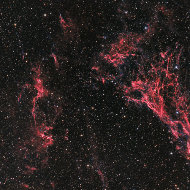 """Northern edge of Cygnus Loop: Pickering's Triangle nebula and NGC 6974 nebula in constellation Cygnus"" stock image"